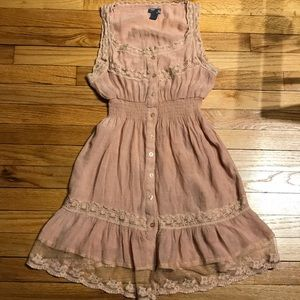 Sweet feminine lace dress pink elastic waist M